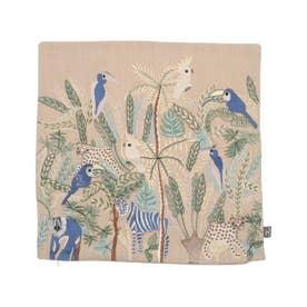 ジャングル刺繍クッションカバー (ベージュ)