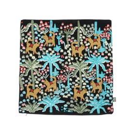 ジャングル刺繍クッションカバー (ブラック)