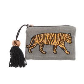 刺繍ポーチS(タイガー) (グレー)
