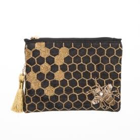 ハニカム刺繍ポーチ (ブラック)