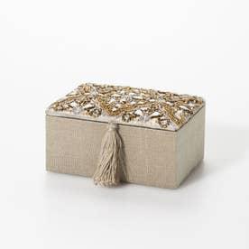 ビーズ刺繍ジュエリーボックス (セージ)