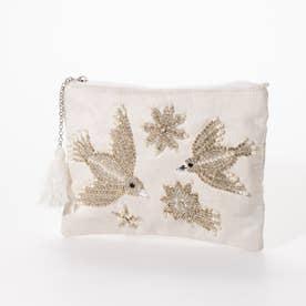 ビーズ鳥刺繍ポーチL (ホワイト)