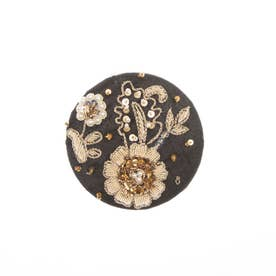 ザリ&ビーズ刺繍ミラー (ブラック)