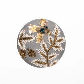 ザリ&ビーズ刺繍ミラー (グレー)