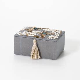 ザリ&ビーズ刺繍ジュエリーボックス (グレー)