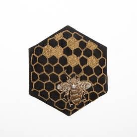 ハニカム刺繍ミラー (ブラック)