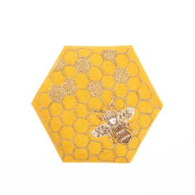 ハニカム刺繍ミラー (イエロー)