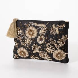 ザリ&ビーズ刺繍ポーチ (ブラック)