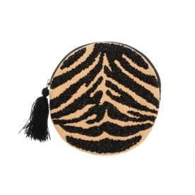 ビーズ刺繍ラウンドポーチ (タイガー)