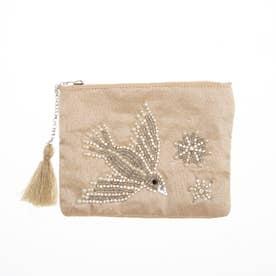 ビーズ鳥刺繍ポーチS (ベージュ)