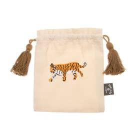 アニマル刺繍巾着S (ホワイト)