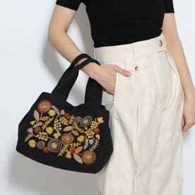 コットンチェーン刺繍スクエアバッグ (ブラック)