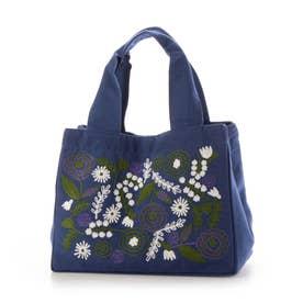 コットンチェーン刺繍スクエアバッグ (ブルー)