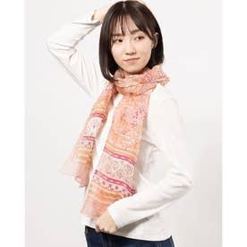 シルク混花柄ショール (ピンク)