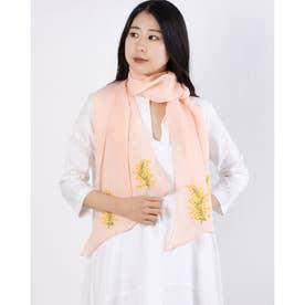 リネンミモザ刺繍バイアスショール (ピンク)