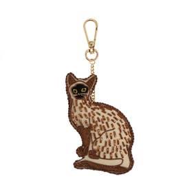 ザリ刺繍キーホルダー ネコ (ネコ)