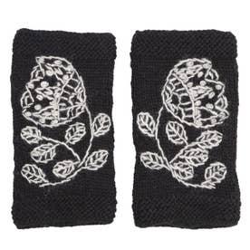 フラワー刺繍レッグウォーマー (ブラック)