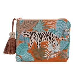 タイガー刺繍ポーチ (オレンジ)