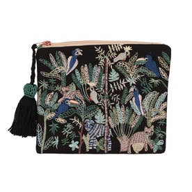ジャングル刺繍ポーチ (ブラック)
