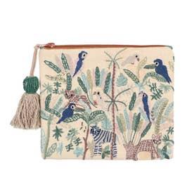 ジャングル刺繍ポーチ (アイボリー)
