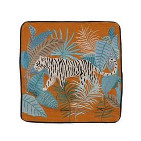 タイガー刺繍クッションカバー (オレンジ)