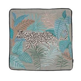 レオパード刺繍クッションカバー (セージ)