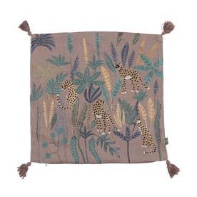 レオパード刺繍クッションカバー (グレー)