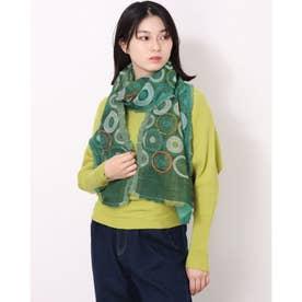 ドット刺繍ジャガードミニショール (グリーン)