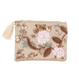 ビーズ刺繍フラットポーチ (ベージュ)