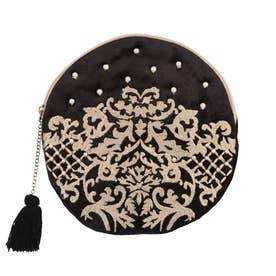 ベロア刺繍ラウンドポーチ (ブラック)