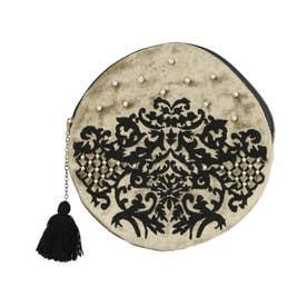 ベロア刺繍ラウンドポーチ (セージ)
