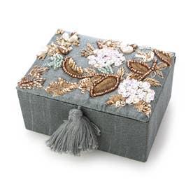 ビーズ刺繍ジュエリーボックス (ブルー)