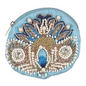 ビーズ刺繍フラワーポーチ (ブルー)