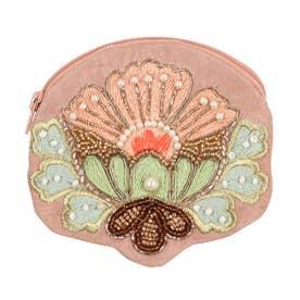 ビーズ刺繍フラワーポーチ (ピンク)