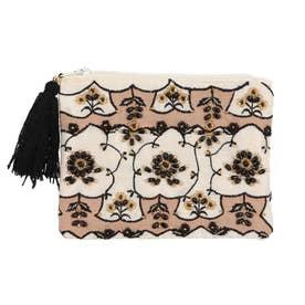 ビーズ刺繍フラットポーチ (アイボリー)
