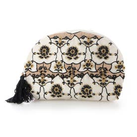 ビーズ刺繍ポーチ (アイボリー)