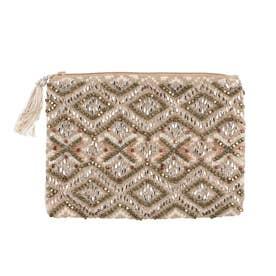 ビーズ刺繍フラットポーチ (ゴールド)