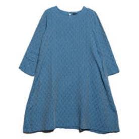 オーガニックコットンツリージャガードドレス (ブルー)
