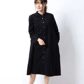 コーデュロイ前開きドレス (ブラック)