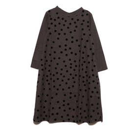 フロッキードットプリントドレス (チャコール)