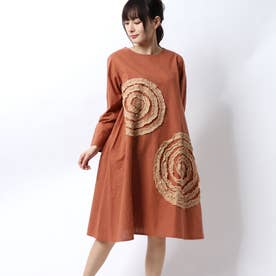 ぐるぐるリボン刺繍ドレス (オレンジ)