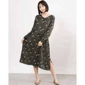 リーフ&バードプリントドレス (ブラック)