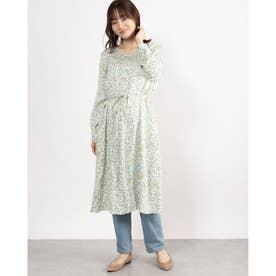 リーフ&バードプリントドレス (ホワイト)
