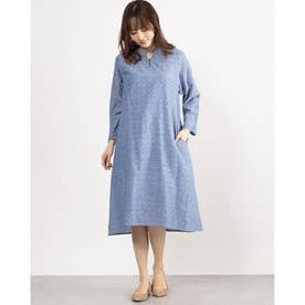 綿麻ドットドビードレス (ブルー)