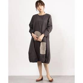 カットワーク刺繍ドレス (チャコール)