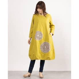 カットワーク刺繍ドレス (マスタード)