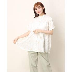 ドリーフラワー刺繍ロングシャツ (ホワイト)