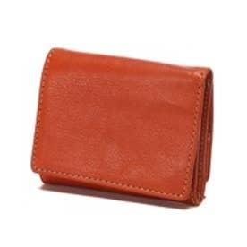 ベジタブルレザー コンパクト三つ折り財布(レッドブラウン)