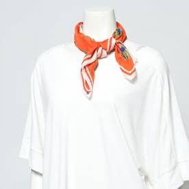エンブロイダリーフラワーシルクスカーフ (オレンジ)