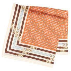 ベルトボーダーシルクスカーフ (オレンジ)